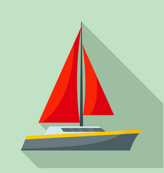 red sail yacht icon flat style vector image