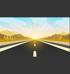 Road trip infinity landscape travel pave the vector