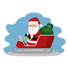 santa claus in the sled with christmas gifts vector image