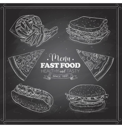 Scetch of fast food menu on a black board vector