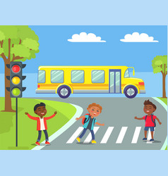schoolchildren crossing road on pedestrian vector image