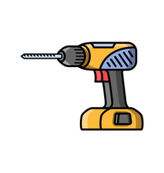 Screwdriver construction electric tool flat style vector