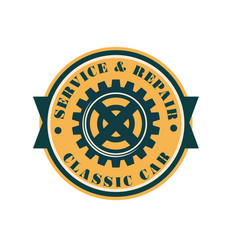 service and repair classic car logo design retro vector image
