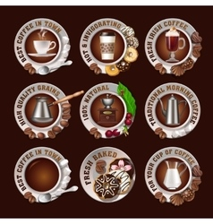 Set beautiful realistic badges of coffee vector