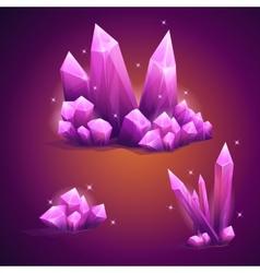 set magical crystals various shapes vector image