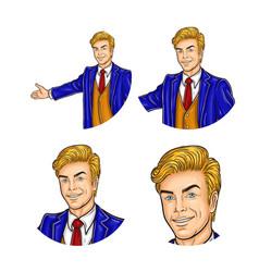 set of mens pop art round vector image