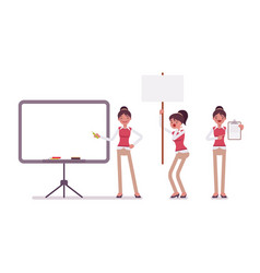 Set of young female office worker with frames for vector
