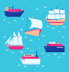 Ships and boats icons collection in flat style vector