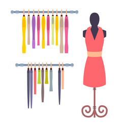 shop window in women clothing store mannequin set vector image