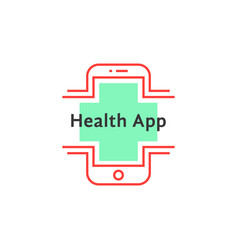 simple health app logo like red thin line phone vector image