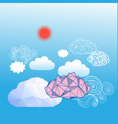 sky background with different clouds vector image