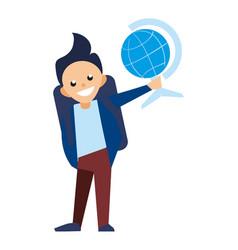 Smiling school boy with globe icon vector