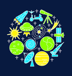space elements round concept banner in line style vector image