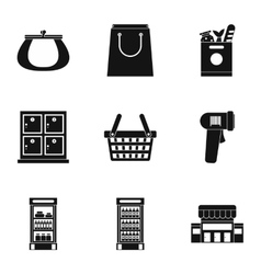 Store icons set simple style vector