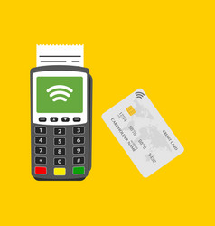 terminal with credit card vector image