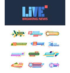 Title news set web headline breaking television vector