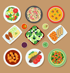 top view dinner table with european dishes and vector image