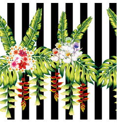 tropical flowers and leaves seamless black white vector image