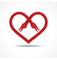 Victory hands make heart shape vector image