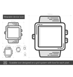 Wearable device line icon vector