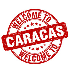 Welcome to caracas red round vintage stamp vector