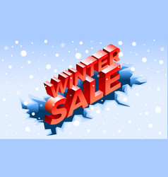 Winter sale banner isometric style vector