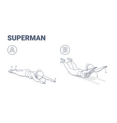 Woman doing superman exercise home workout vector