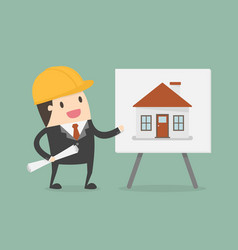 young engineer presenting house building on vector image