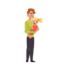 Young father dad holding little daughter in arms vector