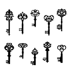 Antique keys set vector image vector image