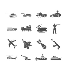 Army military icons set vector image vector image