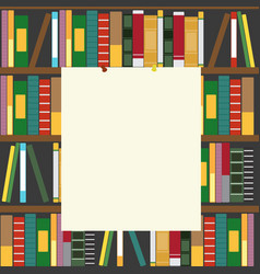 bookshelf and empty blank board vector image