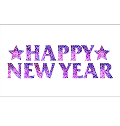 Happy new year mosaic text design with stars vector image vector image