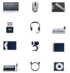laptop accessories icon set vector image vector image