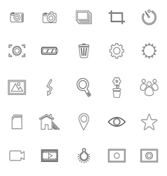 Photography line icons on white background vector image vector image