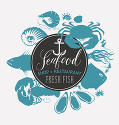 seafood emblem with sea inhabitants and lettering vector image vector image