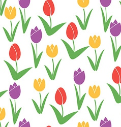 Tulips Seamless Pattern Flower Background Summer vector image
