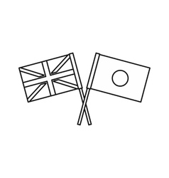 UK and Japan flags icon outline style vector image vector image