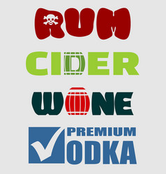 alcohol logo design set typography concept vector image vector image