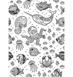 aquatic animals seamless pattern for children vector image