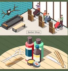 Barbershop isometric banners vector