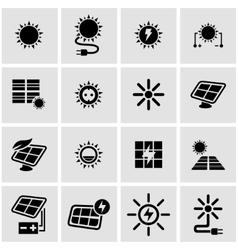 black solar energy icon set vector image vector image