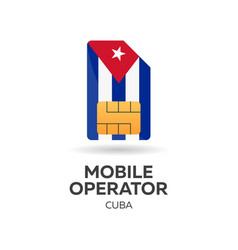 cuba mobile operator sim card with flag vector image