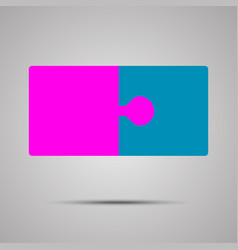 pink blue piece puzzle jigsaw 2 step vector image vector image