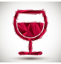 Red wine glass geometric icon made in 3d modern vector