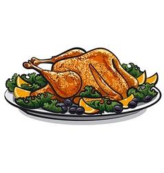 roasted turkey vector image
