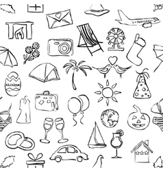 sketch holiday and events seamless pattern vector image vector image