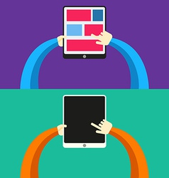 Tablet PC in hands Flat style vector image