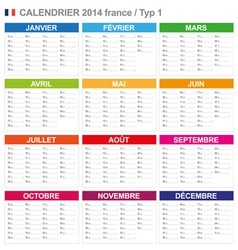 Calendar 2014 French Type 1 vector image vector image