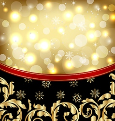 Christmas ornamental golden background or holiday vector image vector image